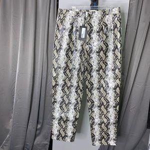 Grey Faix Leather Snake Print Slim Leg Trouser